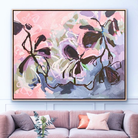 Beautiful flowers in expressive abstract style in purple, mauve, pinks, blues and greens. A patchwork of colours to give a garden glimpse design.