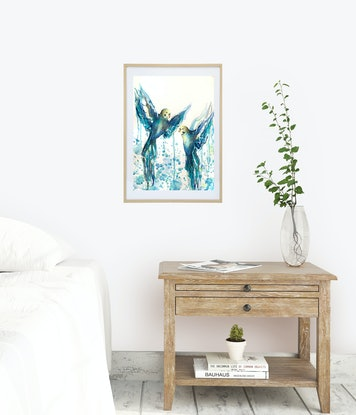 Two watercolour painted budgies flying