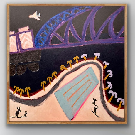 Memories of travel, into the past waiting for the future to happen.   Using Acrylics on canvas I have painted this ode to the early morning arrivals from somewhere else into the waking city of Sydney.