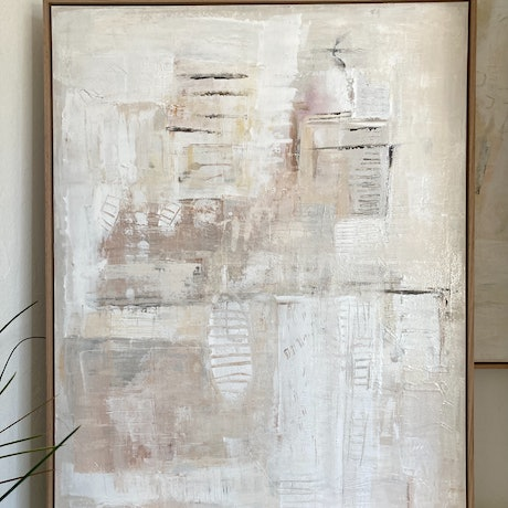 Neutral earthy abstract painting in oak frame