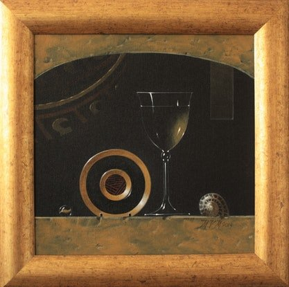 A wineglass and saucer still life in the style of the old Dutch masters