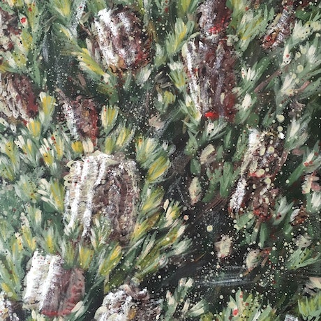 FEELS LIKE HOME - Silver Banksia  By HSIN LIN  02/05/2019  70  x 50 X 1.5 cm  Acrylic on Acid free Gesso primed Canvas  Ready to hang  Side panel painted: Black Metallic Gold paint are used . It actually shines beautifully when you look at the physical painting.  Affirmation - You have nothing to lose, you have nothing to be afraid of , this is the place where you start.  Banksia marginata, also known as Silver Banksia,  Australian evergreen shrubs of the protea family. Its natural occurrence is throughout from South Australia, Victoria and eastern New South Wales and Tasmania. Some forms have a lignotuber, which is a woody swelling at the stem base that regenerates after fire.  All banksias produce copious nectar and are ideal for attracting wildlife into gardens. Seeds are also eaten by cockatoos, particularly the Yellow-tailed Black Cockatoo.  -WILD BOTANICAL ABSTRACT SERIES 2019 by H.Lin-  Artwork inspired by nature at Royal Botanic Garden , Cranbourne, Autumn, 2019. -HSIN LIN  I am HSIN LIN , Full Time Artist based in Melbourne Australia , obsessed with the beauty of flowers .  From where I live in Bayswater, there is a big field of forest nearby. My creating process normally start from a short walk into the woods, touching the texture of the barks, feeling the sunlight reflecting on the leaves and grasses .  I then collect whatever I found during the walk as inspiration.  Sometimes would be the gum tree, oak tree, pine tree leaves, or bird feathers; in autumn I have acorns, and wattles in winter. There's only one rule for my collecting process, never take from the living tree/life.  I collect what had fallen only, and those are the gift from the nature of the day for me.  This painting is painted after my visiting of Royal Botanic Garden in Cranbourne recently, as Banksia has a special place in my heart.  A brave, evergreen  native tree with the humbled strength.  Hope you enjoy the colourful world of my original art too.  Warm Regards, H.Lin  Enjoy the making