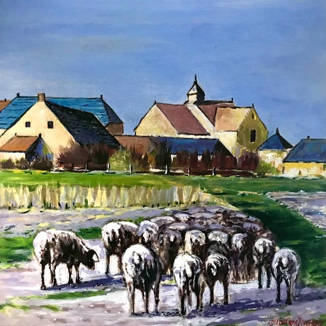 Sheep in a Northern French inspired landscape.