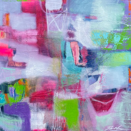 White pink and green abstract painting