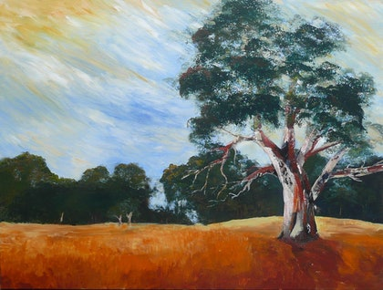 (CreativeWork) Evening Light by Susan Chacksfield. arcylic-painting. Shop online at Bluethumb.