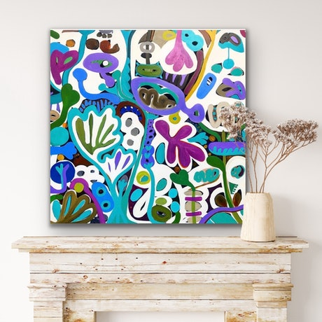 Large blue, white and purple colours and shapes in an abstract form