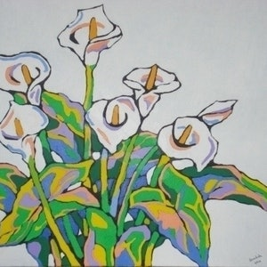 (CreativeWork) ARUM LILIES 2 by Saadah Kent. arcylic-painting. Shop online at Bluethumb.