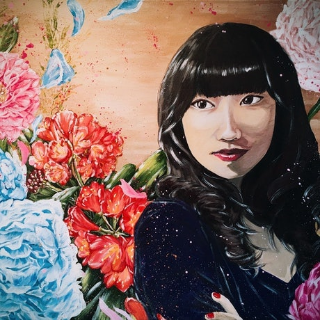 """This painting POISE AND PRIDE- is a award winning painting as the Highly Commended Acrylic in The Hut Gallery Open Award Exhibition April 2018 . <br> POISE AND PRIDE Acrylic on canvas 61*76*1.5 22/9/2017 H.Lin Ready to hang <br> -Flowers and girls series- by HSIN LIN A piece of my on going series- """"Flowers and Girls"""". In this series, I first started painting most of my self or my cousins, basically the people around me. Same as my """"Bloom like flowers"""" series"""", flowers are the object represent life itself. In this series I painting flowers in full bloom , a interpretation of the vitality, also a salute to the golden age . <br> This self-portrait of mine actually took a lot of time for me to re-recognise myself, knowing myself a bit further more to complete. It's a journey literally. Peony stands for honour, and bush lily stands for great luck in this painting. <br> I also enjoy painting those photo real flowers in the process too. I always want to deliver a important message in my floral series - Now is the very best time to be alive. Be at the moment, be yourself. Whenever you are experiencing difficulty, life itself can be bloomed like flowers with no fear <br> A Self portrait . Painted in Bayswater, Melbourne, Victoria, Spring, 2017. by HSIN LIN <br> Enjoy the making of this artwork please visit : https://www.youtube.com/watch?v=gNlBBizQqOM <br> -1-31st OCT 2017 Annual LITTLE ARCHIES PORTRAIT PRIZE Exhibition @Oak Hill Gallery, Mornington -March 17th-18th 2018 44TH KNOX ART SHOW @ Knox Community Arts Centre -7th-29th April 2018 Open Exhibition Oil/Acrylic, Pastel & Watercolour @ The Hut Gallery - 1-30July 2018 Annual Members Exhibition Oak Hill Gallery 16th March- 15th April 2019 -Artist Of The Month - Flowers and Girls series- Artworks Exhibited at Riot Art Knox Westfield 1st - 28th September - Bloom Like Flowers Solo Exhibition by HSIN LIN, Knox Immerse 2019 by Knox city council , Upper Ferntree Gully , Melbourne"""