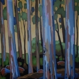 (CreativeWork) TREESCAPE 2 by Saadah Kent. arcylic-painting. Shop online at Bluethumb.