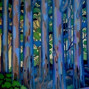 "(CreativeWork) ""Trees against Dusking Sky 1"" by Saadah Kent. arcylic-painting. Shop online at Bluethumb."