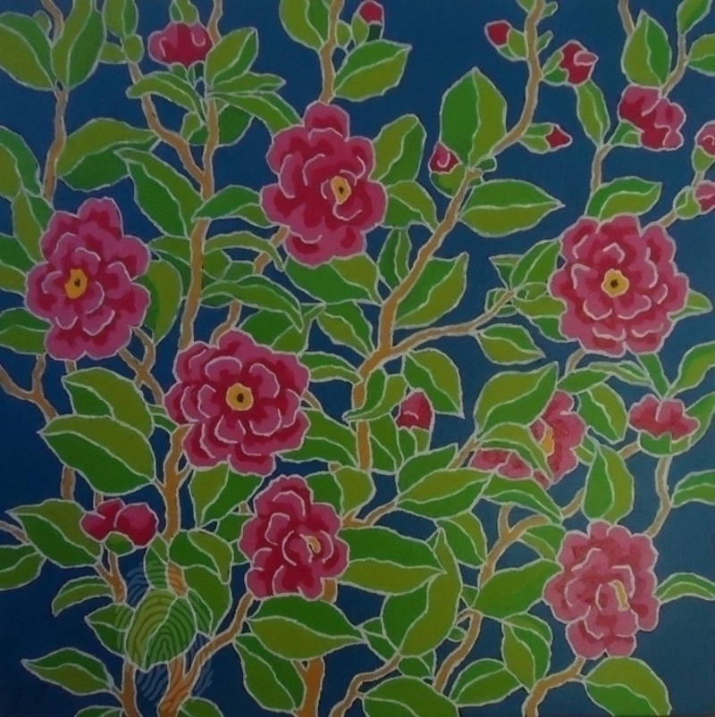 (CreativeWork) CAMELIAS 2 by Saadah Kent. arcylic-painting. Shop online at Bluethumb.