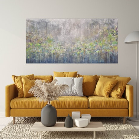 Lotus Lime ethereal calming botanical impressionist original artwork with texture
