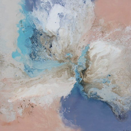 Waves on the beach painted in pastel colours of lavender, aqua blue, peach beige and white