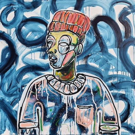 portrait of a man in abstract street art style with coloured oil sticks, paint markers on a  white background with curving navy blue brushstroke patterns.