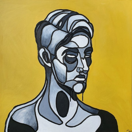 semi-abstract portrait of man in different shades of black and white against a yellow background on a square canvas