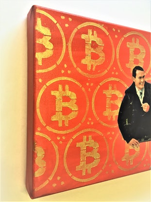 bright red background with gold stenciled Bitcoin symbol. Collage of two men smoking and smiling broadly as they look off into the distance.