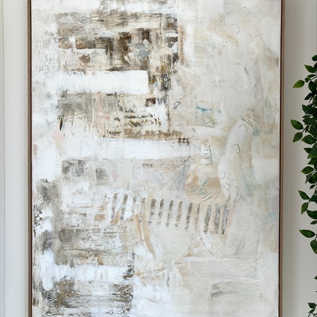 White neutral earthy texture abstract painting framed in oak