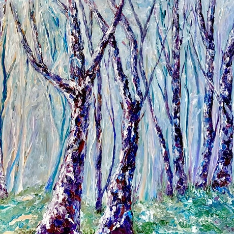 Giant blue and red trees with forest background