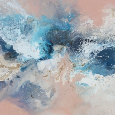 Waves of water painted in soft pastel colours of salmon, blue, beige and white