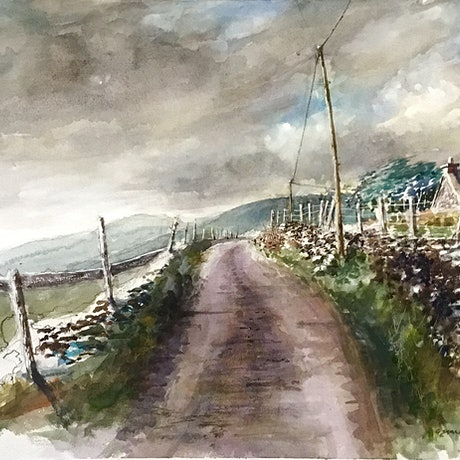 Watercolour painting of an Irish country laneway with the a  setting  sun .