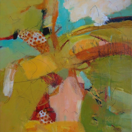 An imagined abstract landscape in bright lime greens yellows, soft browns and oranges with teal blue accents.
