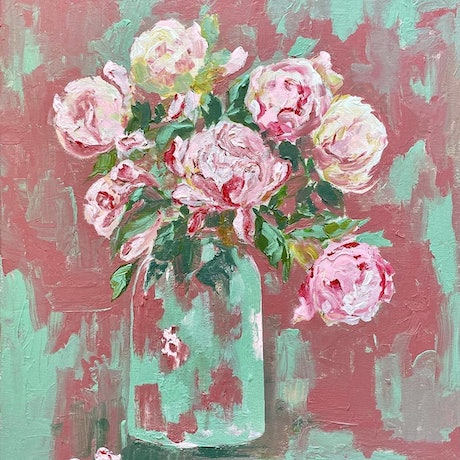 An impressionist painting of pink and white peonies with a rustic feeling.