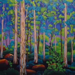 (CreativeWork) GUMSCAPE 27 by Saadah Kent. acrylic-painting. Shop online at Bluethumb.