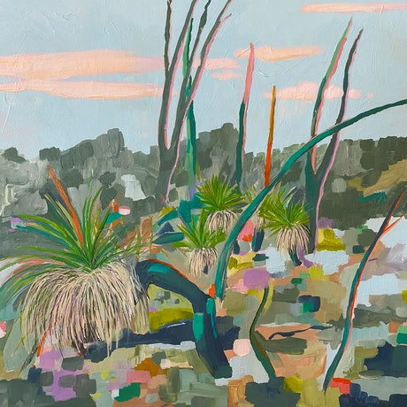 A semi abstract, colourful bush scene with grass trees