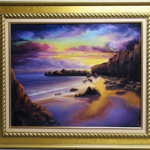 (CreativeWork) GOLDEN SUNSET by JOHN COCORIS. oil-painting. Shop online at Bluethumb.
