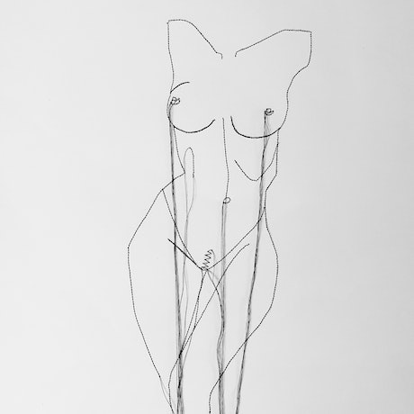 Nude female torso stitched drawing with hanging thread on paper.