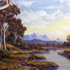 (CreativeWork) SHALLOW CREEK by JOHN COCORIS. oil-painting. Shop online at Bluethumb.