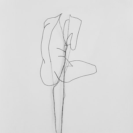Nude female figure from behind stitched drawing with hanging thread.