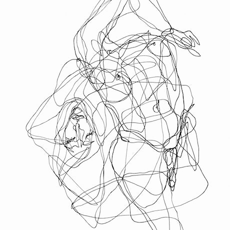 Entangled bodies ink drawing in one line