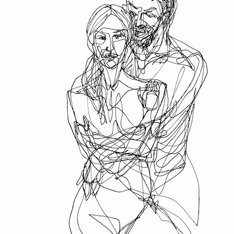 Black single line ink drawing of a couple hugging