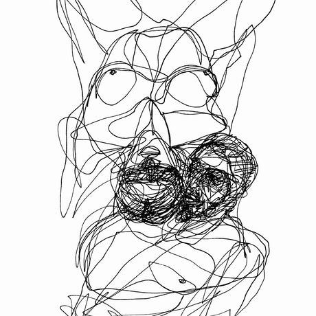 Black single line ink drawing of a couple