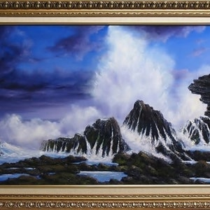 (CreativeWork) SEASPRAY by JOHN COCORIS. oil-painting. Shop online at Bluethumb.