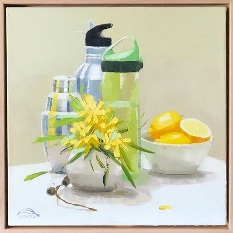 an original framed oil painting featuring flowers and vases and bottles with lemons contemporary still life