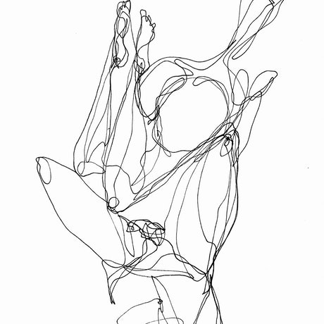 Black single line ink drawing of a couple laying in bed