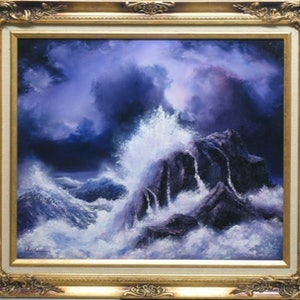 (CreativeWork) WILDE SEA by JOHN COCORIS. oil-painting. Shop online at Bluethumb.