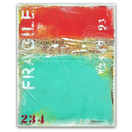 orange and teal abstract landscape seascape, with texture and white typography.