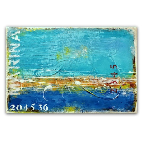 Blue and turquoise abstract landscape seascape, with texture, and typography.