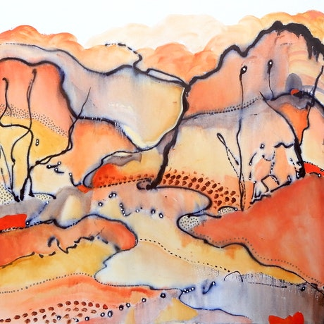 Abstract expressive landscape inspired by the Red Centre of Australia
