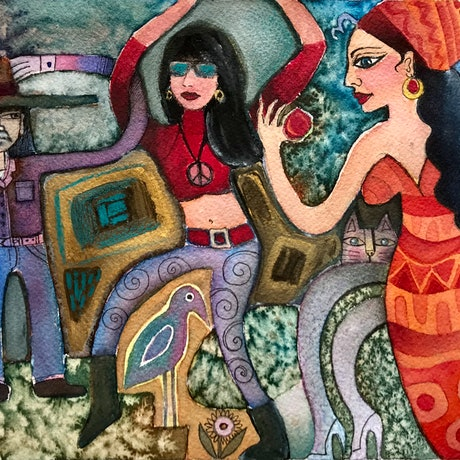 Hippy era inspired  painting which shows my spin on hippy life  love, peace and rock n roll.  I was not really a hippy, but I love the music and fashion of that era.