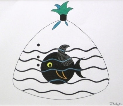 (CreativeWork) Fishy Take-away by June Leijon. mixed-media. Shop online at Bluethumb.