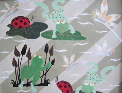 (CreativeWork) Froggy Hide 'n Seek by June Leijon. arcylic-painting. Shop online at Bluethumb.