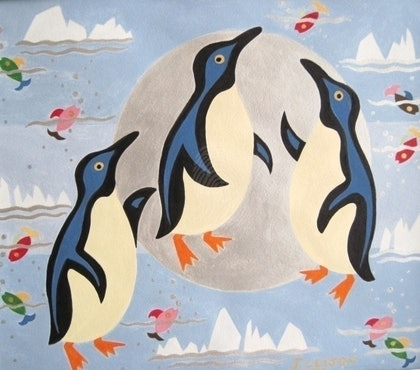 (CreativeWork) Penguins Playing with the Moon by June Leijon. arcylic-painting. Shop online at Bluethumb.