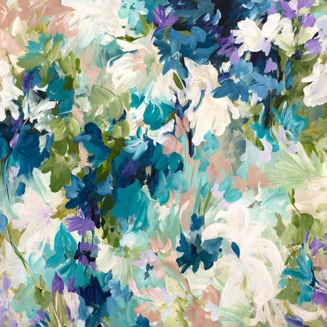 Large blue and green modern abstract of floral and nature elements