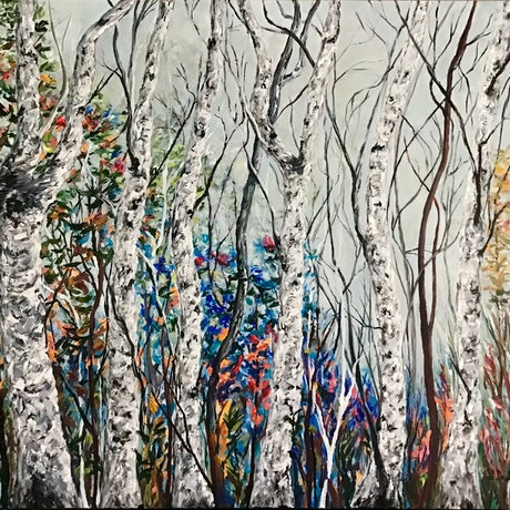 Giant white and black trees with colourful forest background