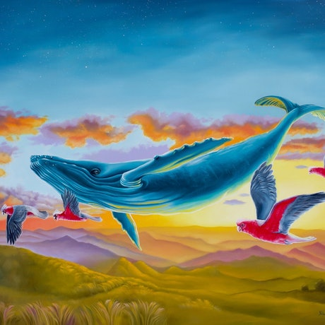 A whale and galahs flying through the sunset skies