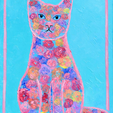 Palette knife oil painting of a floral cat on a bright turquoise background.